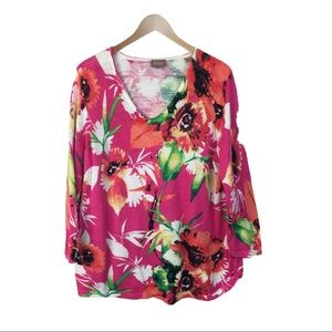 Chico's bright pink floral sweater